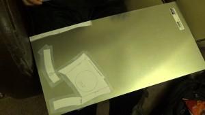 Pattern taped to metal